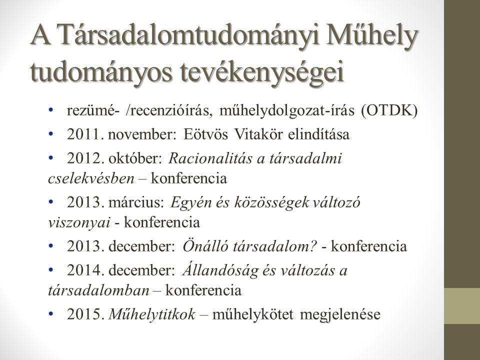A Társadalomtudományi Műhely tudományos tevékenységei rezümé- /recenzióírás, műhelydolgozat-írás (OTDK) 2011. november: Eötvös Vitakör elindítása 2012
