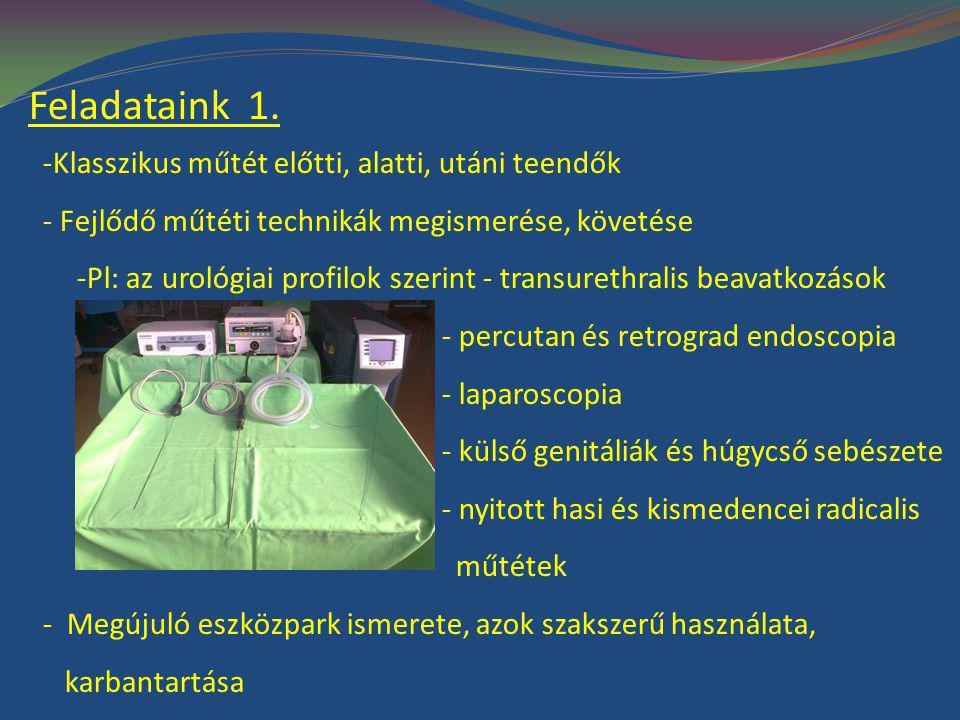 Feladataink 1. -Klasszikus műtét előtti, alatti, utáni teendők - Fejlődő műtéti technikák megismerése, követése -Pl: az urológiai profilok szerint - t