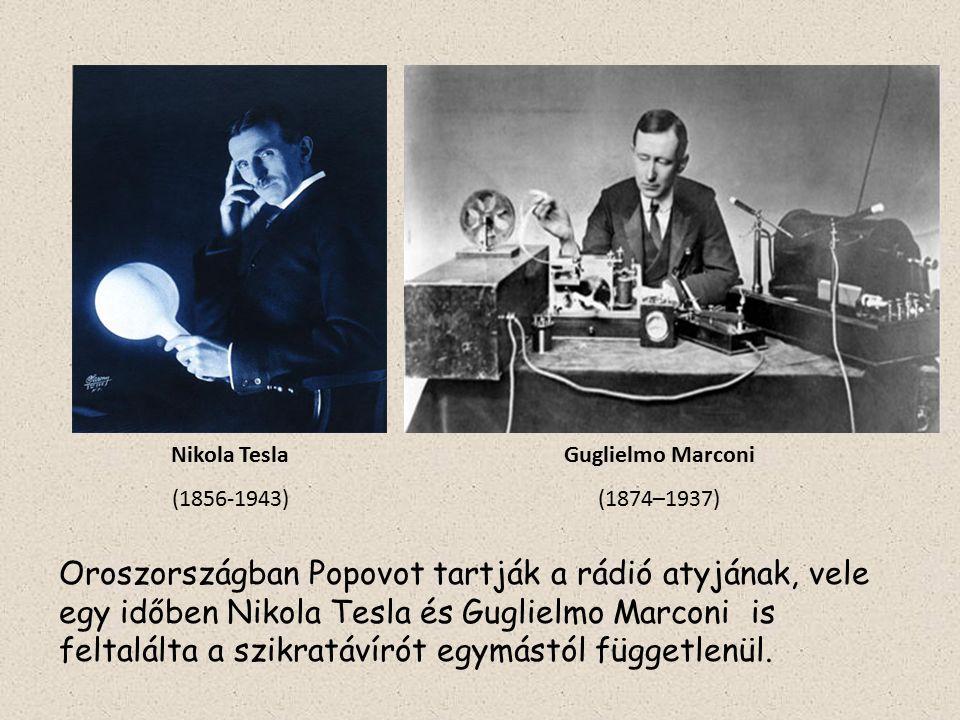 Nikola Tesla (1856-1943) Guglielmo Marconi (1874–1937) Oroszországban Popovot tartják a rádió atyjának, vele egy időben Nikola Tesla és Guglielmo Marc