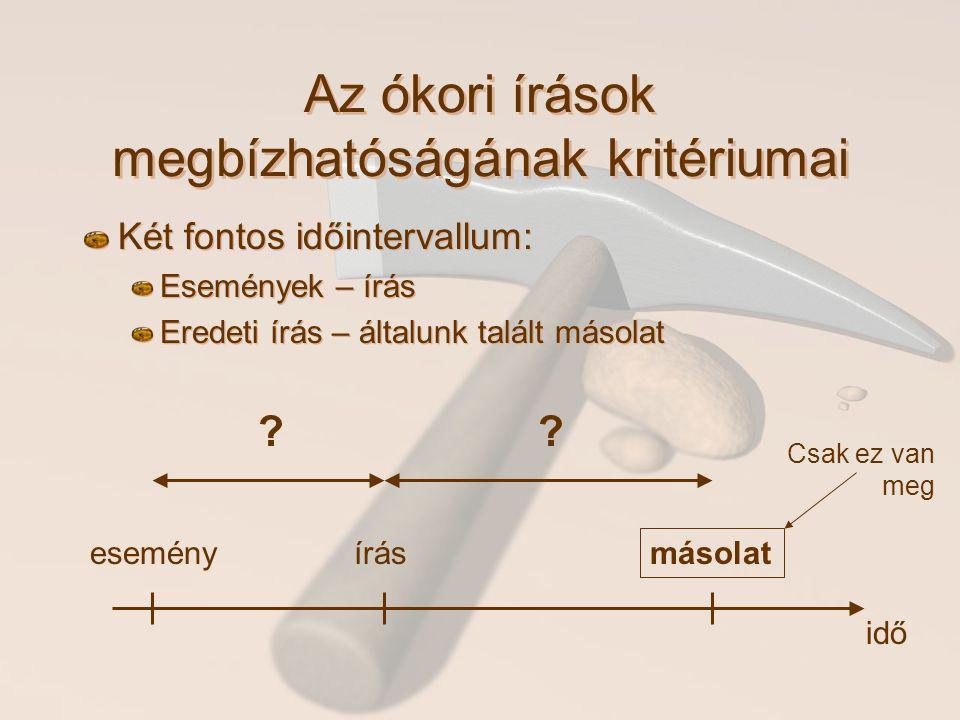 Az ókori írások megbízhatóságának kritériumai Két fontos időintervallum: Események – írás Eredeti írás – általunk talált másolat Két fontos időinterva