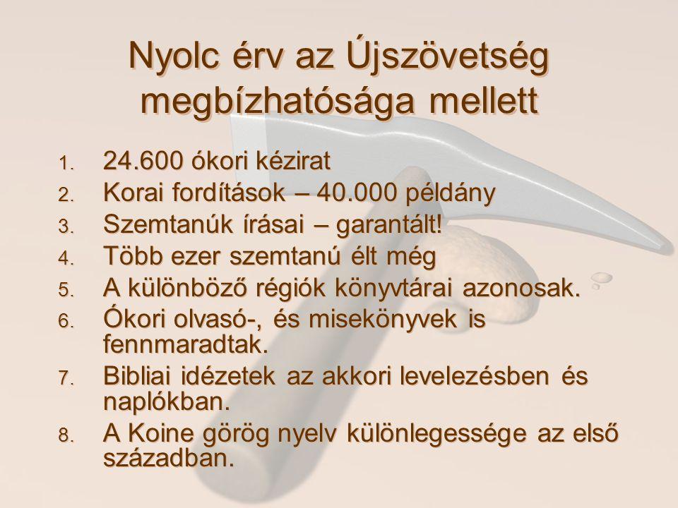 Nyolc érv az Újszövetség megbízhatósága mellett 1. 24.600 ókori kézirat 2. Korai fordítások – 40.000 példány 3. Szemtanúk írásai – garantált! 4. Több