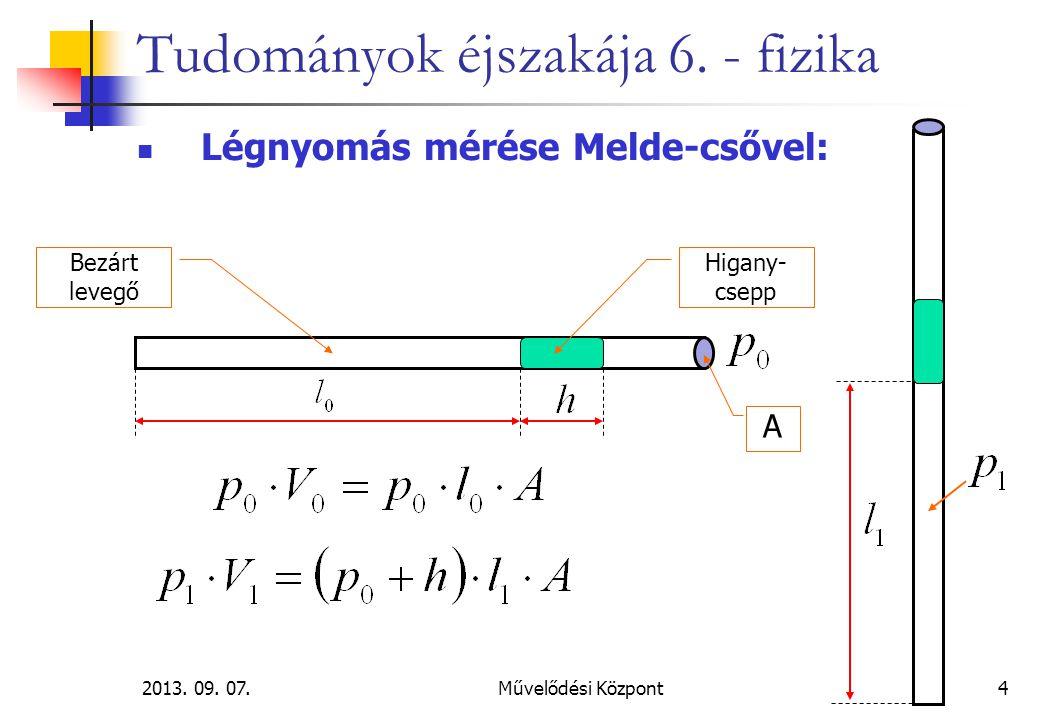 2013. 09. 07.Művelődési Központ4 Tudományok éjszakája 6. - fizika Légnyomás mérése Melde-csővel: A Bezárt levegő Higany- csepp