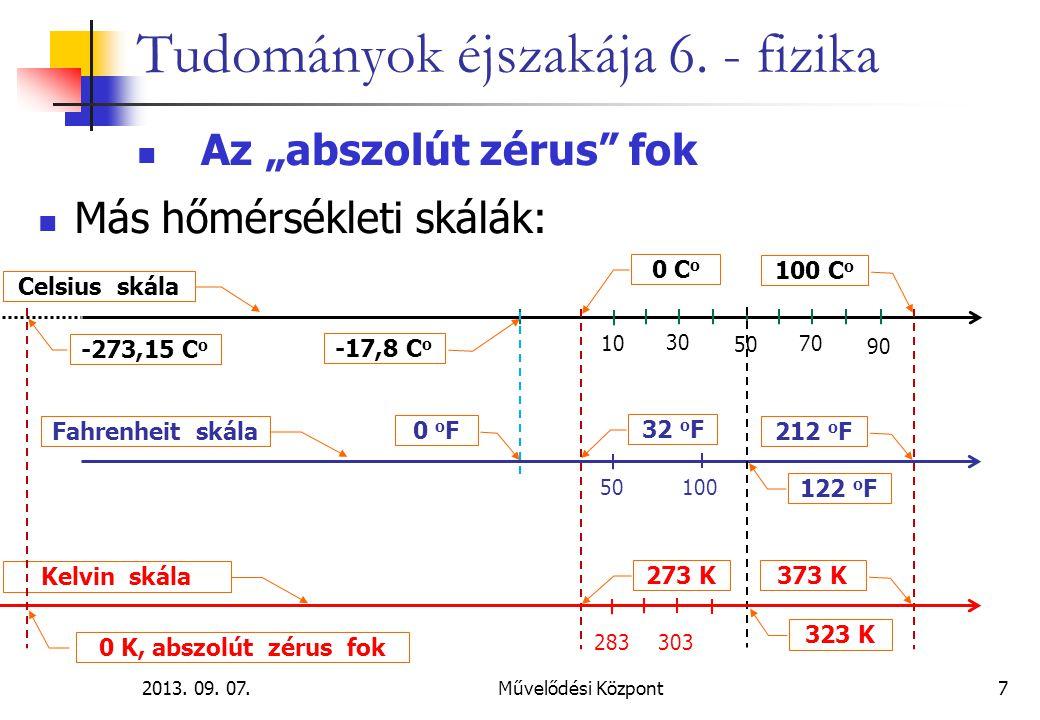"""2013. 09. 07.Művelődési Központ7 Tudományok éjszakája 6. - fizika Az """"abszolút zérus"""" fok Más hőmérsékleti skálák: 0 C o 100 C o Celsius skála 10 30 5"""
