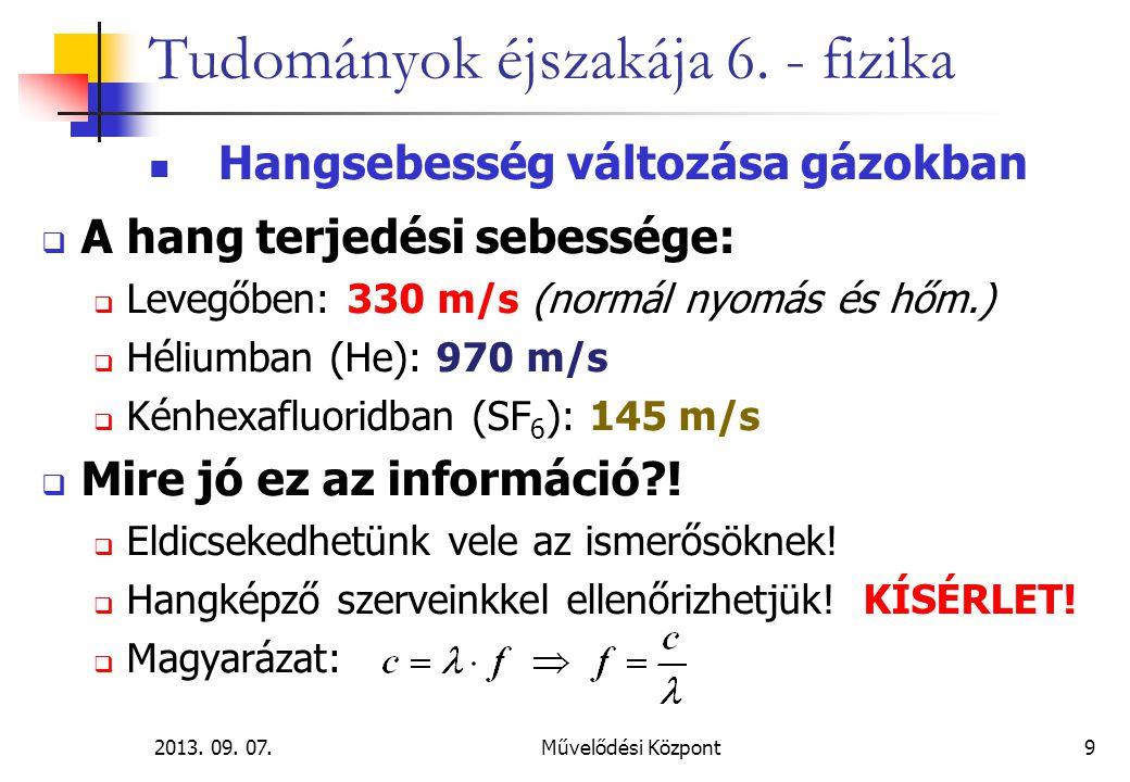 2013. 09. 07.Művelődési Központ9 Tudományok éjszakája 6. - fizika Hangsebesség változása gázokban  A hang terjedési sebessége:  Levegőben: 330 m/s (