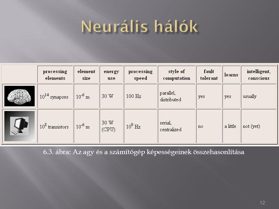 6.3. ábra: Az agy és a számítógép képességeinek összehasonlítása 12