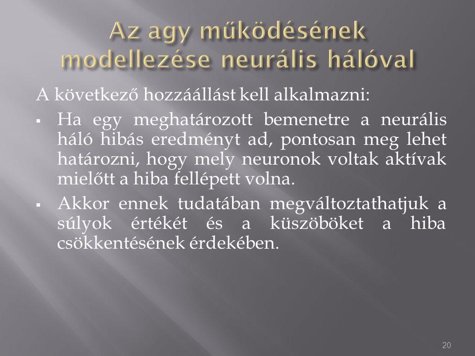 A következő hozzáállást kell alkalmazni:  Ha egy meghatározott bemenetre a neurális háló hibás eredményt ad, pontosan meg lehet határozni, hogy mely