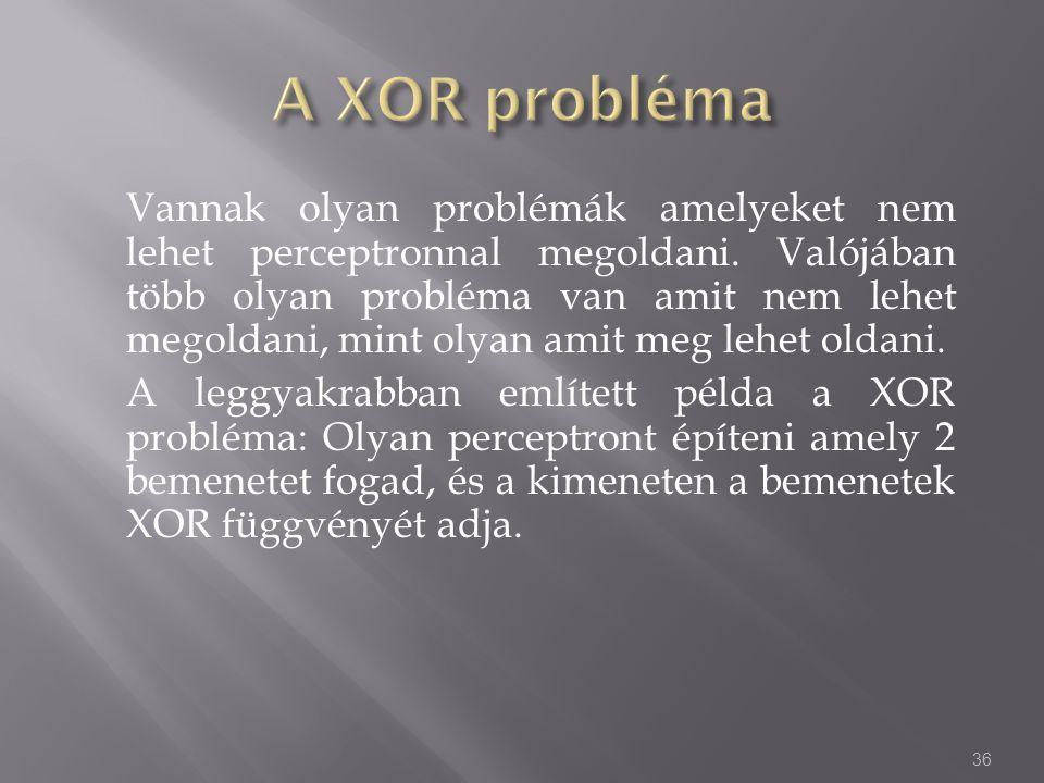 Vannak olyan problémák amelyeket nem lehet perceptronnal megoldani. Valójában több olyan probléma van amit nem lehet megoldani, mint olyan amit meg le