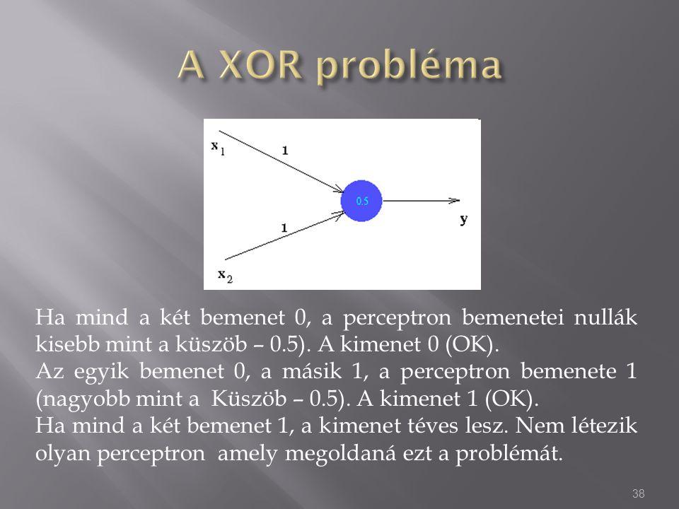 Ha mind a két bemenet 0, a perceptron bemenetei nullák kisebb mint a küszöb – 0.5). A kimenet 0 (OK). Az egyik bemenet 0, a másik 1, a perceptron beme