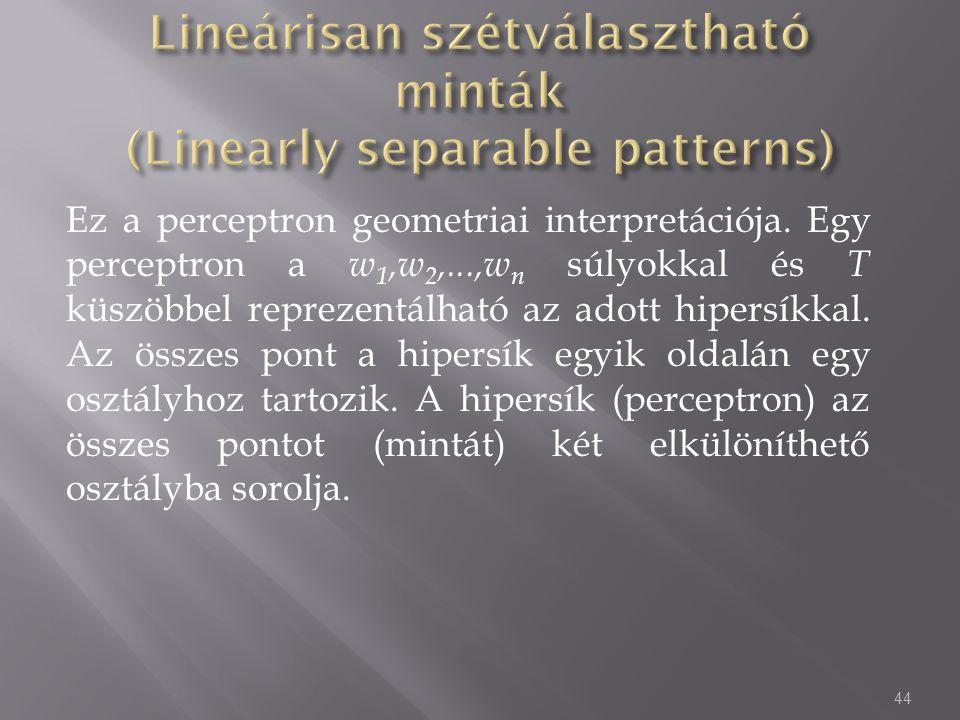 Ez a perceptron geometriai interpretációja. Egy perceptron a w 1,w 2,...,w n súlyokkal és T küszöbbel reprezentálható az adott hipersíkkal. Az összes