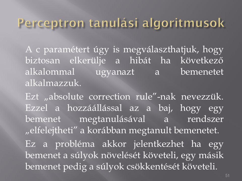 """A c paramétert úgy is megválaszthatjuk, hogy biztosan elkerülje a hibát ha következő alkalommal ugyanazt a bemenetet alkalmazzuk. Ezt """"absolute correc"""