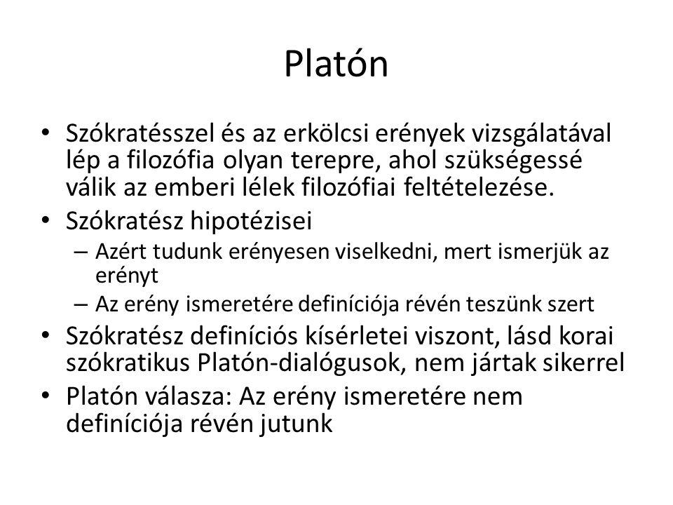 Platón Szókratésszel és az erkölcsi erények vizsgálatával lép a filozófia olyan terepre, ahol szükségessé válik az emberi lélek filozófiai feltételezé