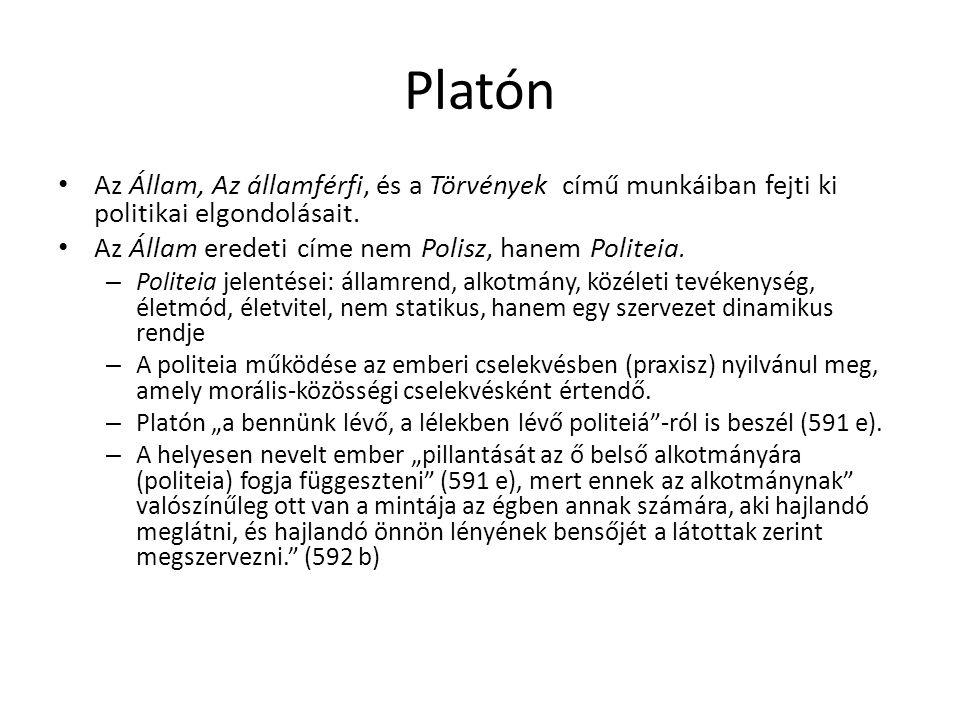 Platón Az Állam, Az államférfi, és a Törvények című munkáiban fejti ki politikai elgondolásait. Az Állam eredeti címe nem Polisz, hanem Politeia. – Po