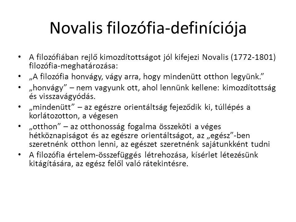 """Novalis filozófia-definíciója A filozófiában rejlő kimozdítottságot jól kifejezi Novalis (1772-1801) filozófia-meghatározása: """"A filozófia honvágy, vá"""