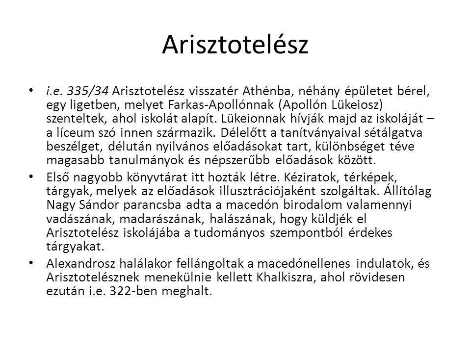 Arisztotelész i.e. 335/34 Arisztotelész visszatér Athénba, néhány épületet bérel, egy ligetben, melyet Farkas-Apollónnak (Apollón Lükeiosz) szenteltek