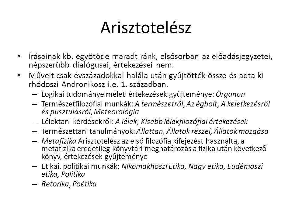 Arisztotelész Írásainak kb. egyötöde maradt ránk, elsősorban az előadásjegyzetei, népszerűbb dialógusai, értekezései nem. Műveit csak évszázadokkal ha