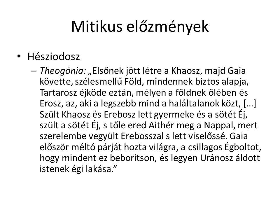 """Mitikus előzmények Hésziodosz – Theogónia: """"Elsőnek jött létre a Khaosz, majd Gaia követte, szélesmellű Föld, mindennek biztos alapja, Tartarosz éjköd"""