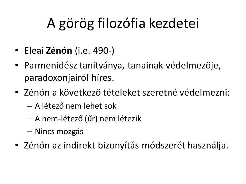 A görög filozófia kezdetei Eleai Zénón (i.e. 490-) Parmenidész tanítványa, tanainak védelmezője, paradoxonjairól híres. Zénón a következő tételeket sz