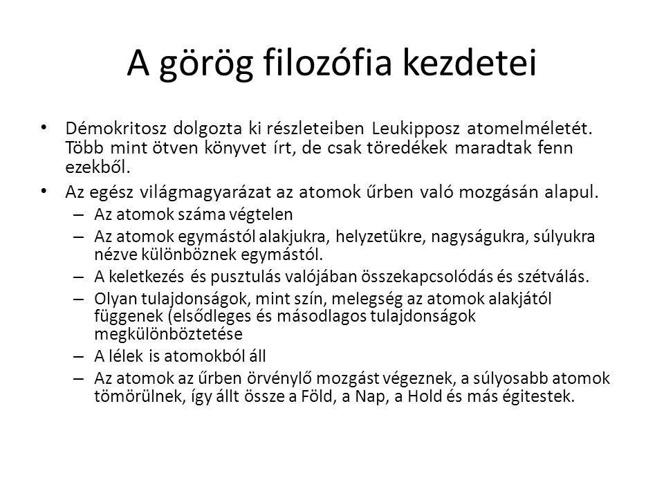 A görög filozófia kezdetei Démokritosz dolgozta ki részleteiben Leukipposz atomelméletét. Több mint ötven könyvet írt, de csak töredékek maradtak fenn