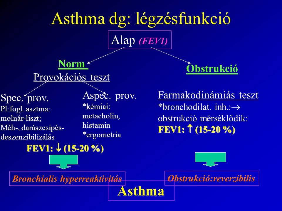 Asthma dg: légzésfunkció Alap (FEV1) Norm Provokációs teszt Obstrukció Farmakodinámiás teszt *bronchodilat.