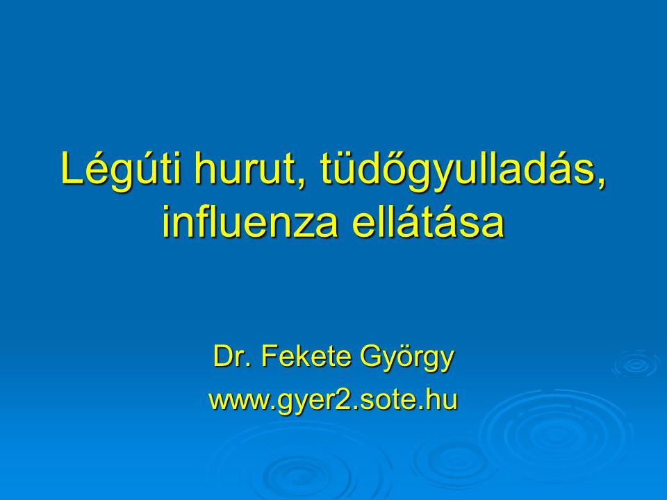 Légúti hurut, tüdőgyulladás, influenza ellátása Dr. Fekete György www.gyer2.sote.hu