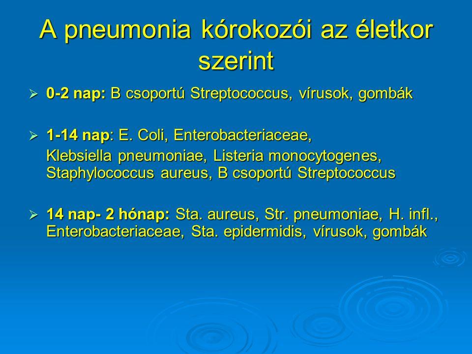 A pneumonia kórokozói az életkor szerint  0-2 nap: B csoportú Streptococcus, vírusok, gombák  1-14 nap: E. Coli, Enterobacteriaceae, Klebsiella pneu