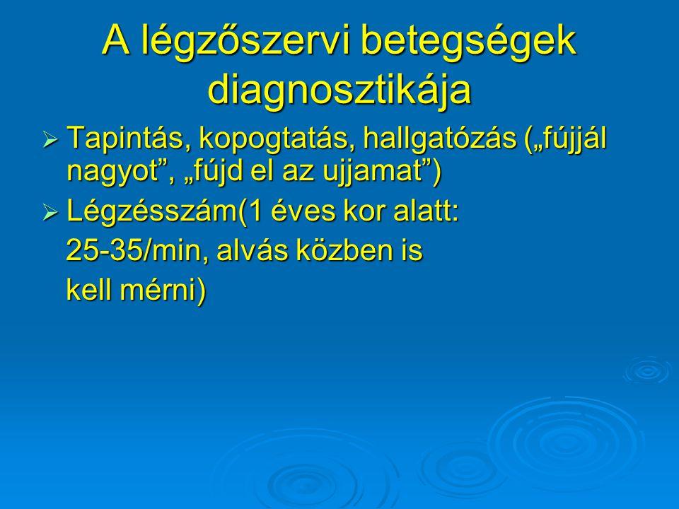 """A légzőszervi betegségek diagnosztikája  Tapintás, kopogtatás, hallgatózás (""""fújjál nagyot"""", """"fújd el az ujjamat"""")  Légzésszám(1 éves kor alatt: 25-"""