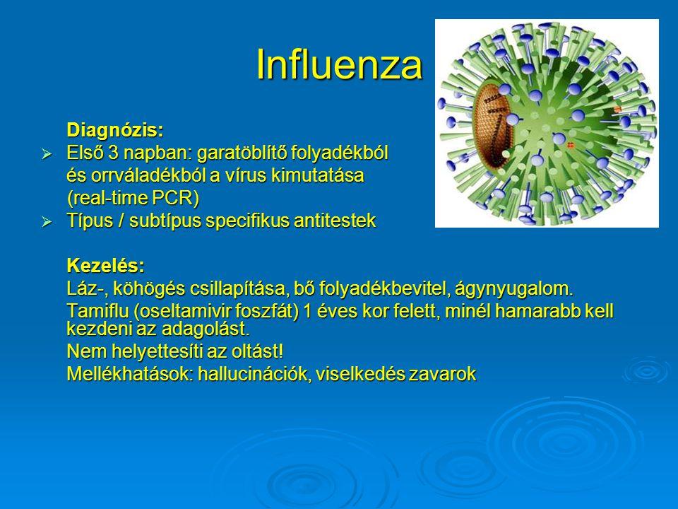 Influenza Diagnózis:  Első 3 napban: garatöblítő folyadékból és orrváladékból a vírus kimutatása (real-time PCR) (real-time PCR)  Típus / subtípus s