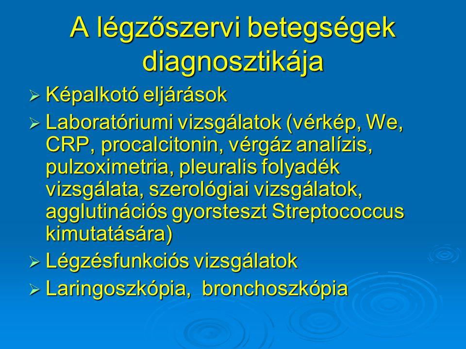 A légzőszervi betegségek diagnosztikája  Képalkotó eljárások  Laboratóriumi vizsgálatok (vérkép, We, CRP, procalcitonin, vérgáz analízis, pulzoximet