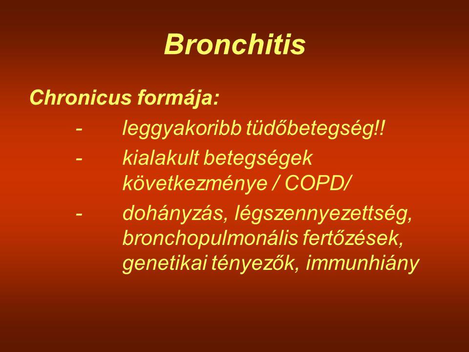 Bronchitis Chronicus formája: -leggyakoribb tüdőbetegség!! -kialakult betegségek következménye / COPD/ -dohányzás, légszennyezettség, bronchopulmonáli