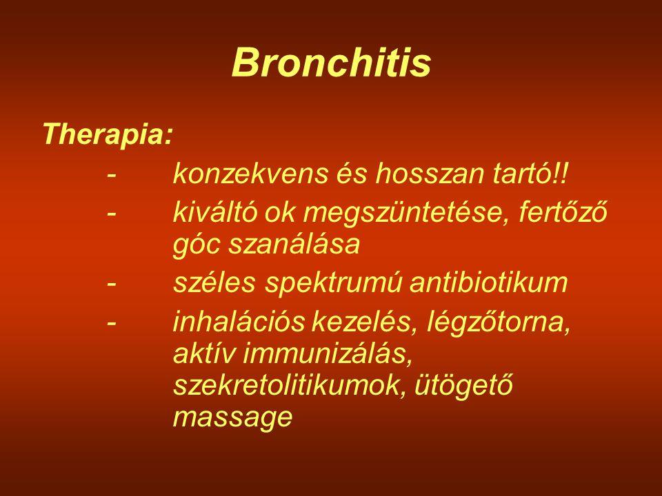 Bronchitis Therapia: -konzekvens és hosszan tartó!! -kiváltó ok megszüntetése, fertőző góc szanálása -széles spektrumú antibiotikum -inhalációs kezelé