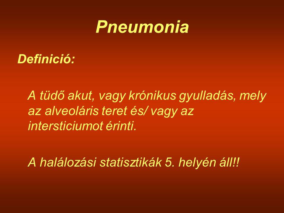 Pneumonia Definició: A tüdő akut, vagy krónikus gyulladás, mely az alveoláris teret és/ vagy az intersticiumot érinti. A halálozási statisztikák 5. he