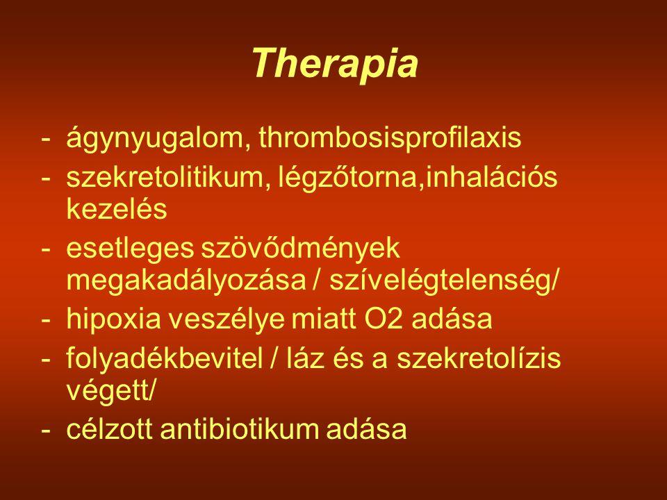 Therapia -ágynyugalom, thrombosisprofilaxis -szekretolitikum, légzőtorna,inhalációs kezelés -esetleges szövődmények megakadályozása / szívelégtelenség
