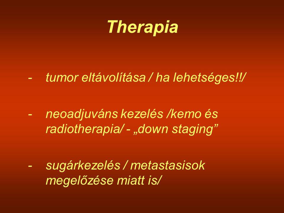 """Therapia -tumor eltávolítása / ha lehetséges!!/ -neoadjuváns kezelés /kemo és radiotherapia/ - """"down staging"""" -sugárkezelés / metastasisok megelőzése"""