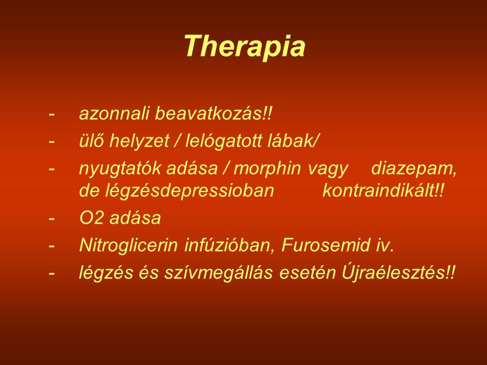 Therapia -azonnali beavatkozás!! -ülő helyzet / lelógatott lábak/ -nyugtatók adása / morphin vagy diazepam, de légzésdepressioban kontraindikált!! -O2