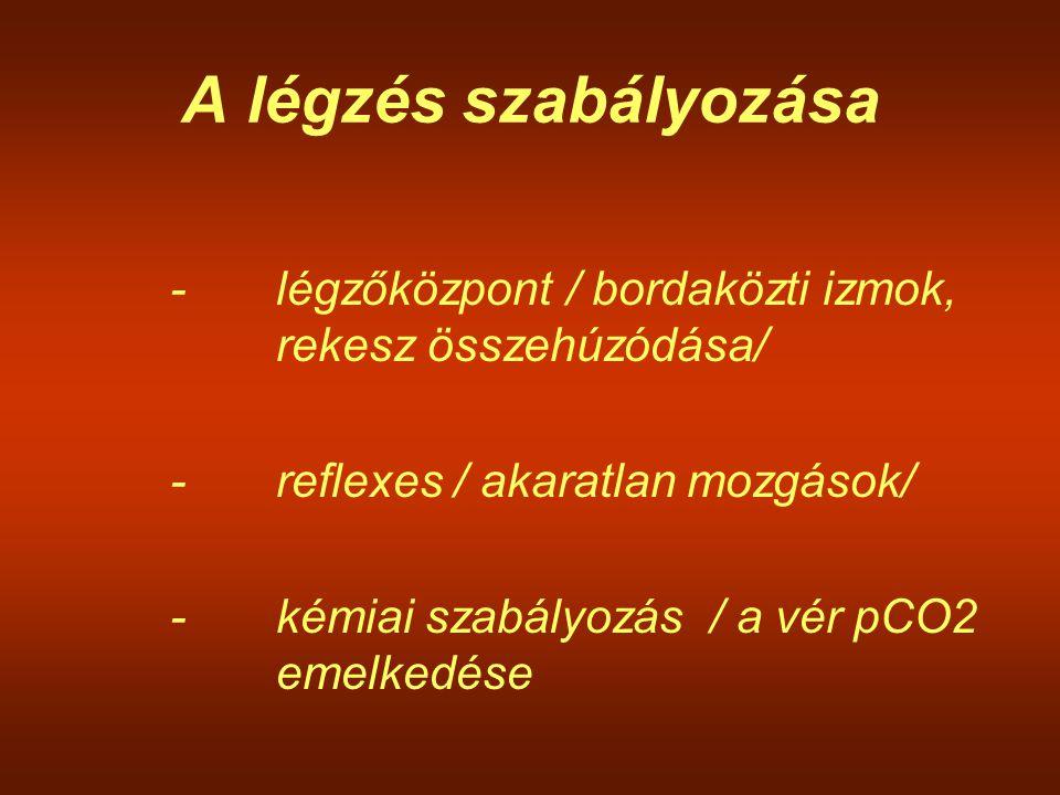 A légzés szabályozása -légzőközpont / bordaközti izmok, rekesz összehúzódása/ -reflexes / akaratlan mozgások/ -kémiai szabályozás / a vér pCO2 emelked