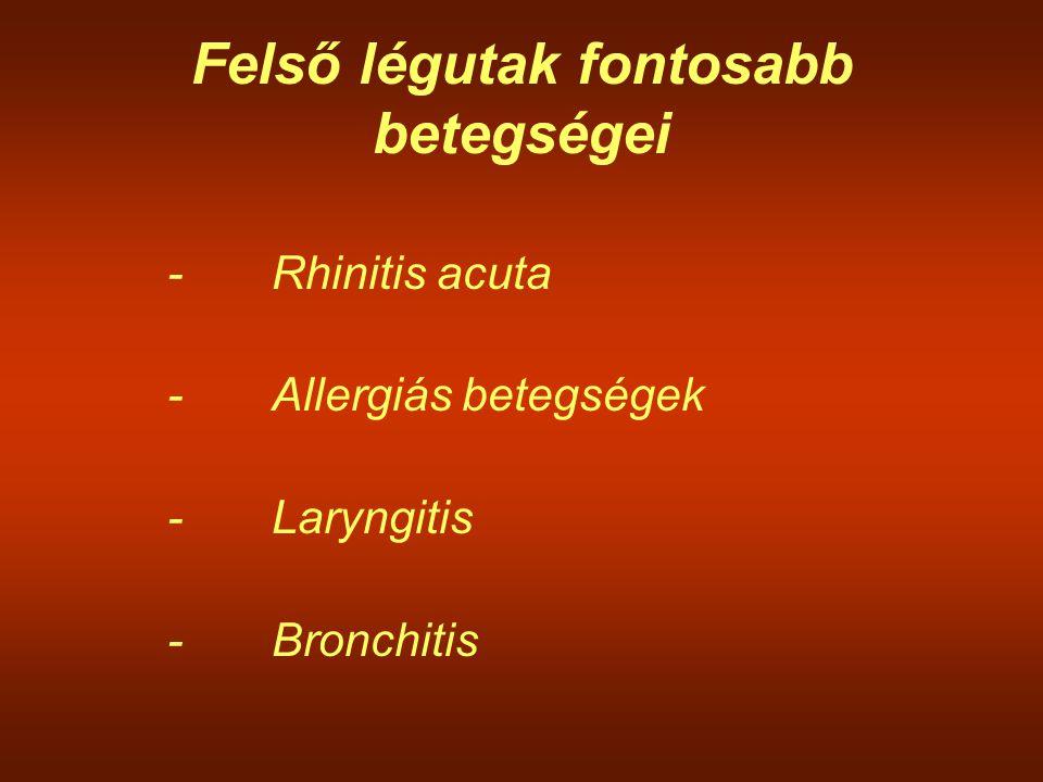 Felső légutak fontosabb betegségei -Rhinitis acuta -Allergiás betegségek -Laryngitis -Bronchitis