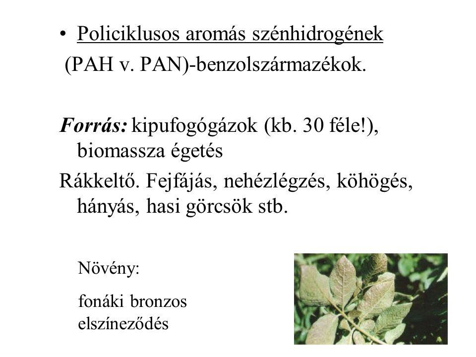Policiklusos aromás szénhidrogének (PAH v. PAN)-benzolszármazékok. Forrás: kipufogógázok (kb. 30 féle!), biomassza égetés Rákkeltő. Fejfájás, nehézlég