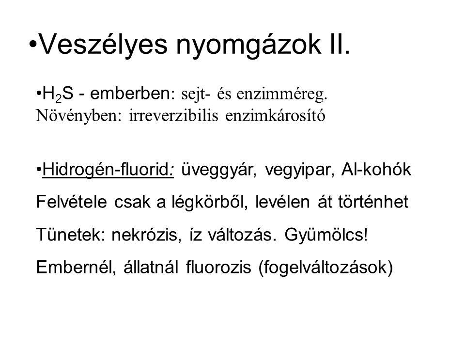 Veszélyes nyomgázok II. H 2 S - emberben : sejt- és enzimméreg. Növényben: irreverzibilis enzimkárosító Hidrogén-fluorid: üveggyár, vegyipar, Al-kohók
