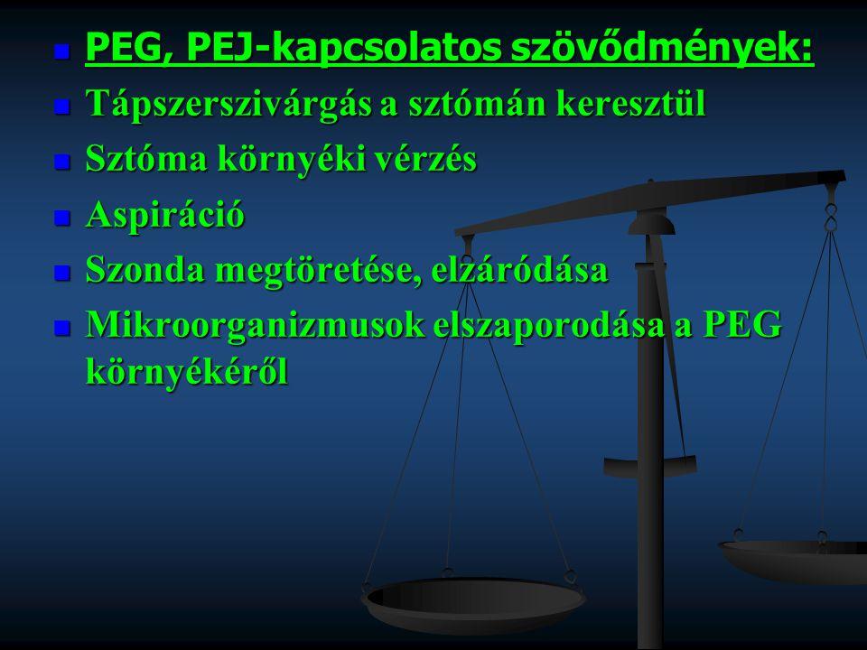 PEG, PEJ-kapcsolatos szövődmények: PEG, PEJ-kapcsolatos szövődmények: Tápszerszivárgás a sztómán keresztül Tápszerszivárgás a sztómán keresztül Sztóma