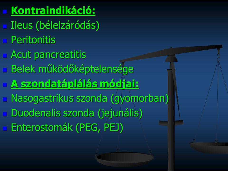 Kontraindikáció: Kontraindikáció: Ileus (bélelzáródás) Ileus (bélelzáródás) Peritonitis Peritonitis Acut pancreatitis Acut pancreatitis Belek működőké