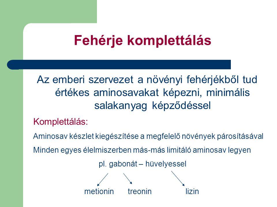 Fehérje komplettálás Az emberi szervezet a növényi fehérjékből tud értékes aminosavakat képezni, minimális salakanyag képződéssel Komplettálás: Aminosav készlet kiegészítése a megfelelő növények párosításával Minden egyes élelmiszerben más-más limitáló aminosav legyen pl.
