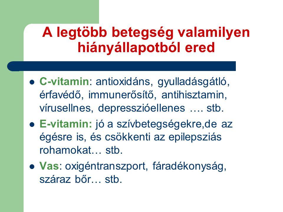 A legtöbb betegség valamilyen hiányállapotból ered C-vitamin: antioxidáns, gyulladásgátló, érfavédő, immunerősítő, antihisztamin, vírusellnes, depresszióellenes ….