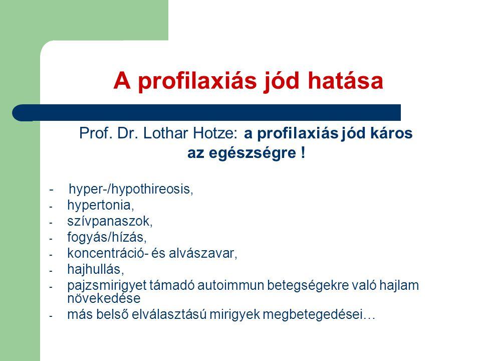 A profilaxiás jód hatása Prof.Dr. Lothar Hotze: a profilaxiás jód káros az egészségre .