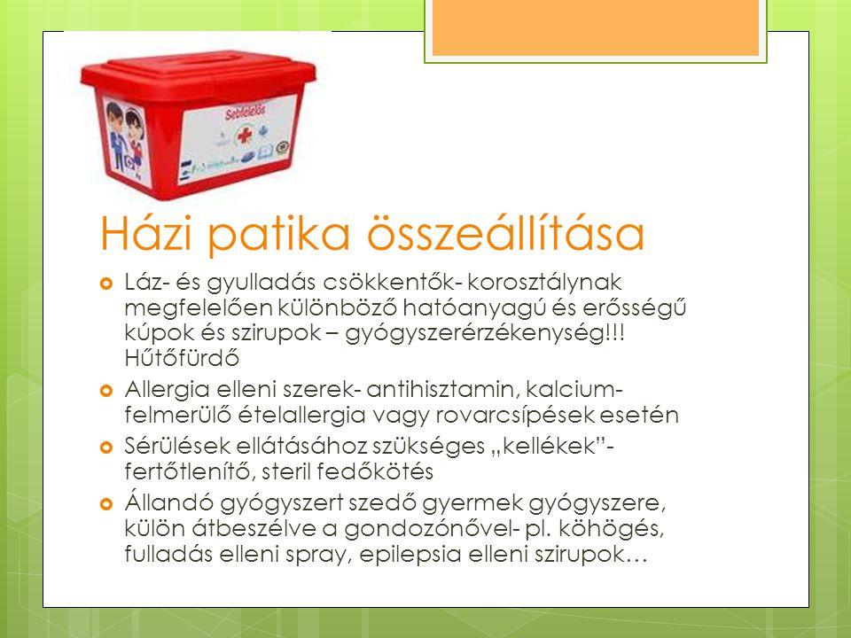 Házi patika összeállítása  Láz- és gyulladás csökkentők- korosztálynak megfelelően különböző hatóanyagú és erősségű kúpok és szirupok – gyógyszerérzé
