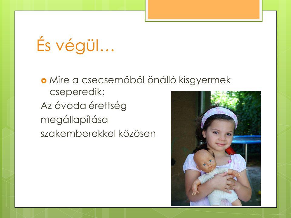 És végül…  Mire a csecsemőből önálló kisgyermek cseperedik: Az óvoda érettség megállapítása szakemberekkel közösen