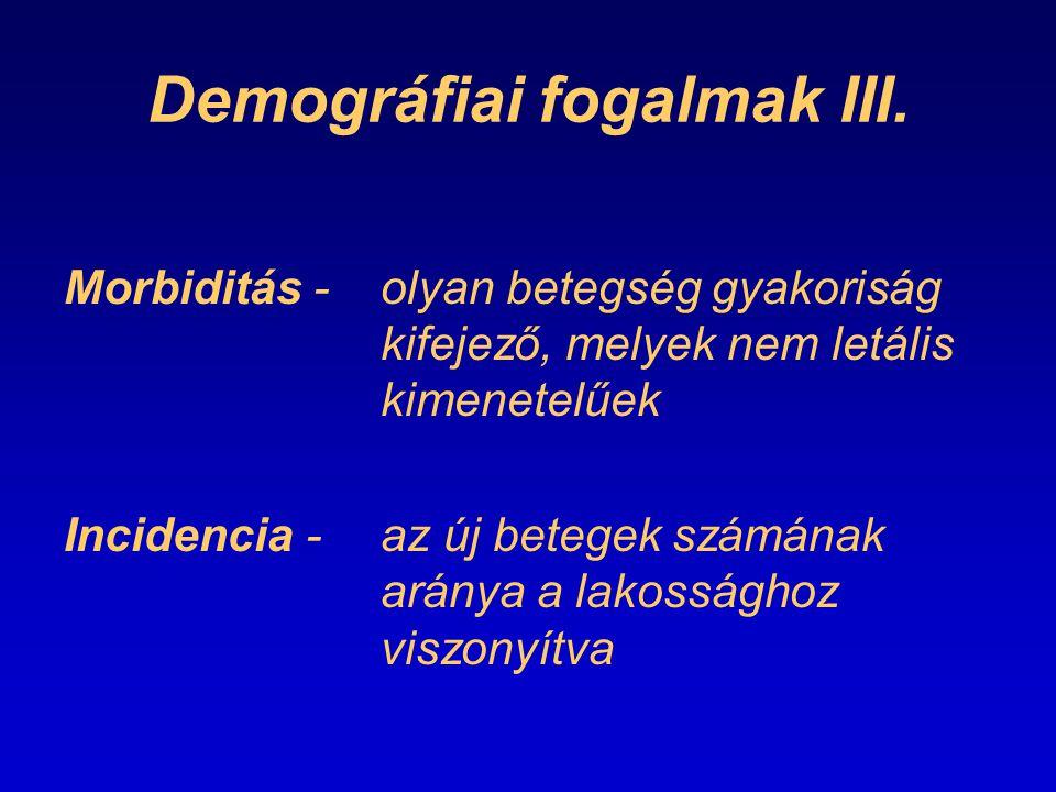 Demográfiai fogalmak III. Morbiditás -olyan betegség gyakoriság kifejező, melyek nem letális kimenetelűek Incidencia -az új betegek számának aránya a