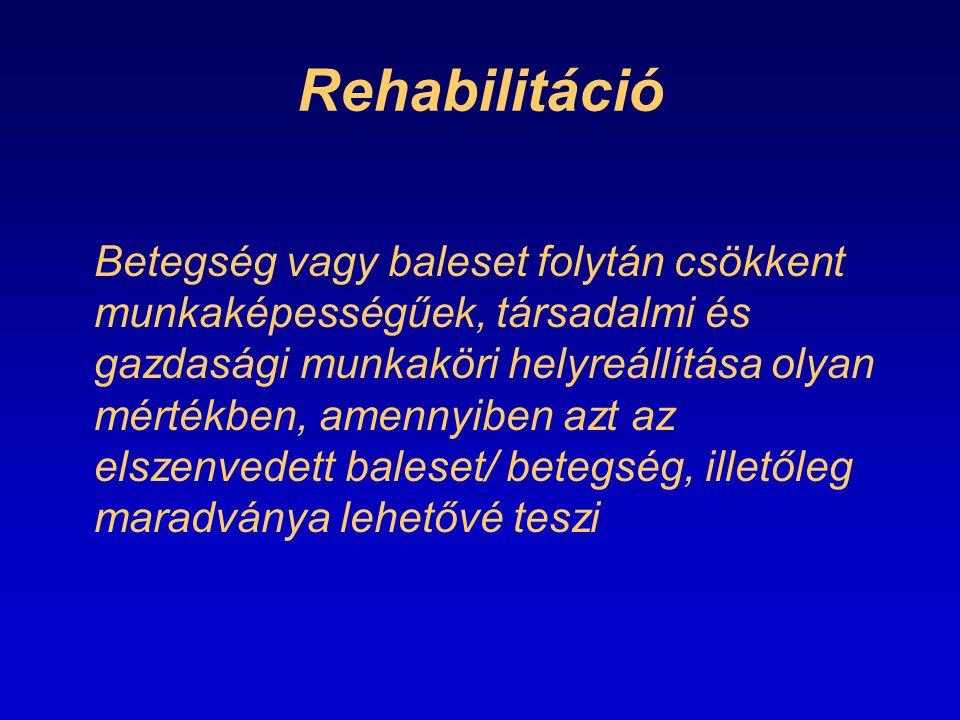 Rehabilitáció Betegség vagy baleset folytán csökkent munkaképességűek, társadalmi és gazdasági munkaköri helyreállítása olyan mértékben, amennyiben az