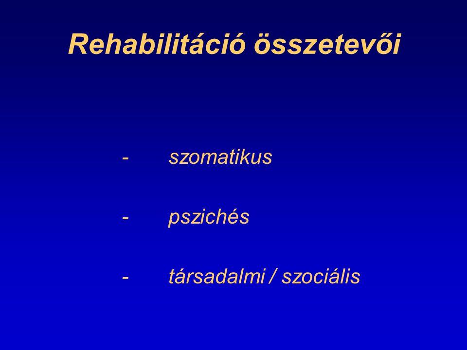 Rehabilitáció összetevői -szomatikus -pszichés -társadalmi / szociális
