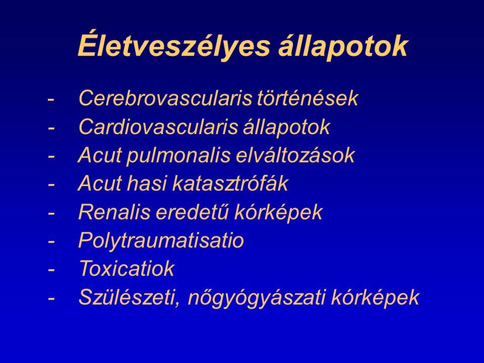 Életveszélyes állapotok -Cerebrovascularis történések -Cardiovascularis állapotok -Acut pulmonalis elváltozások -Acut hasi katasztrófák -Renalis erede