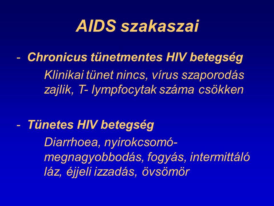AIDS szakaszai -Chronicus tünetmentes HIV betegség Klinikai tünet nincs, vírus szaporodás zajlik, T- lympfocytak száma csökken -Tünetes HIV betegség D